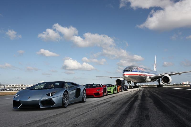 Aventador Roadsters on MIA's runway